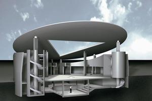 """""""Ich wollte keine """"Raumwirkung"""" erzielen, sondern architektonische Räume schaffen, die von der dialektischen Konfrontation von Form und Nutzung geprägt sind."""" (R.A.)"""