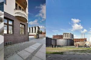 """v. l.: Modell """"WerkbundStadt"""", Werkbundhaus demnächst auf der Nordseite, Tanklager von Osten mit Vattenfall im Westen, Rohöltankstelle"""