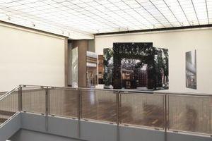 Unten ein Wald (Modelle), darüber eine Installation (Fotos der Bibliothek Musashino in Tokyo)