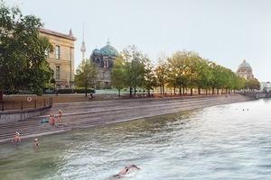 Schwimmen im Fluss: hier (links) in der Spree, am Schloss (hinten) entlang