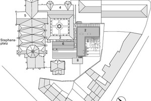 Lageplan, M 1:1500 <br />1Eingang Mensa Steinhof<br />2Mensa<br />3Kreuzgangwand<br />4St. Stephans Kirche<br />5Pankratius Kapelle<br />6Pfarrheim<br />7Altes Pfarrhaus<br />8Nebengebäude