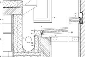 Detail Anschlüsse Glasdach zwischen Zubau und Altbau, M 1:12,5<br />
