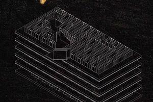 Die Treppenelemente nehmen zwei Funktionen auf: einerseits sind sie die Besuchertreppen (in der Treppenröhre), gleichzeitig sind sie die Treppen für den Techniker (auf der Treppenröhre). Der Technikboden wird eingeschnitten um im Ausstellungsbereich eine angemessene Raumhöhe zu erzeugen, sowie Mobiliar in Form von Bänken zu erzeugen
