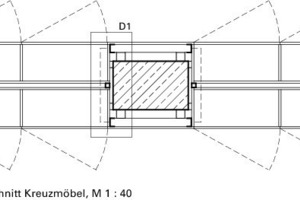 Horizontalschnitt Kreuzmöbel, M 1:40<br />