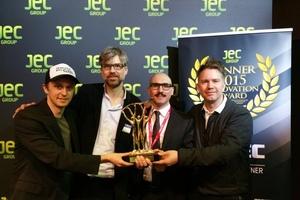 Gewinner JEC Award 2015v.l.n.r.: Jan Wurm, Guglielmo Carra, Arup Deutschland Gmbh sowie Hali Larsen,<br />Morten Norman Lund, GXN Innovation