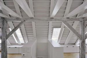 Abgang vom Dachbüroraum mit sichtbarem<br />Trapezblech. Unten ein Stück offenes Fachwerk