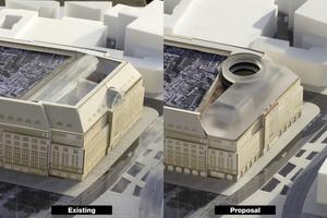 Darstellung der zukünftigen Dachlandschaft. Rechts der Glasaufbau mit offen Platz für Outdoor