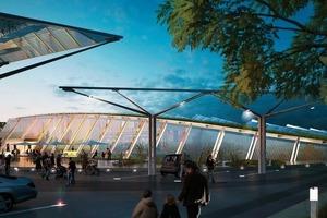 Markant ist die Fassade mit seiner Photovoltaik-Verkleidung, auch das begrünte Dach macht das Thema Nachhaltigkeit von Weitem sichtbar<br />