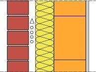 Wandaufbau 1<br /><br />Verblender λ = 0,68 W/(mK), Luftschicht 4cm, Wärmedämmung λ = 0,035 W/(mK), Ziegelmauerwerk 11,5 cm, Ziegelrohdichte 1,6 kg/dm³,<br />Innenputz, 1,5 cm, λ = 0,70 W/(mK), Kalkgips<br />