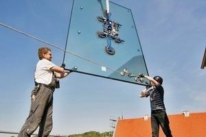 Für das Dach des Treppenturms verwendeten die Architekten Verbundsicherheitsglas aus teilvorgespanntem Glas<br />