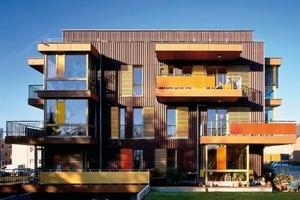 """genossenschaftliches 8-familien-wohnhaus mit """"wohntreppe"""" im niedrigenergie-standard  - bb2 architekten + stadtplaner"""