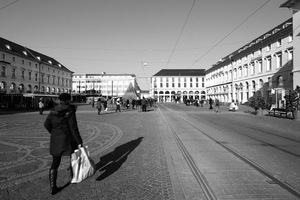 Blick über den Marktplatz Richtung Schloss<br />