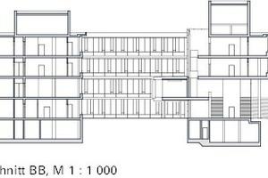 Schnitt BB, Institutsgebäude, M 1:1000