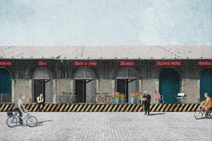"""Ein Ort der Begegnung: Der Marktplatz"""" vor den vielfältig genutzten alten Lagerhäusern."""