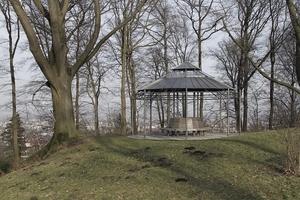 Zeitgenössischer Pavillonbau im Park mit Blick auf die - allerdings leicht zugewachsene - Silhouette der Stadt