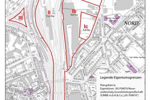 Darstellung der Eigentumsgrenzen im Planungsgebiet
