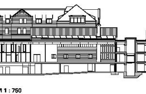 Schnitt AA, Funktionsgebäude/Wohnhaus, M 1:750