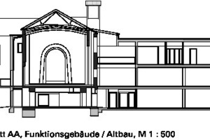 Schnitt AA, Funktionsgebäude Altbau, M 1:500