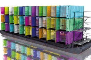 """sculp(it) architects """"studenthousingship"""", 2005, Entwurf für Studenten Wohnungen aus Containern auf einem Schiffsrumpf, geplant für Antwerpen, Belgien"""