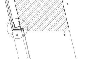 Detail Schnitt, spitzwinkelige Türleibung, M 1:2,5<br />