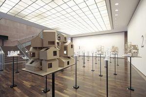 Gestapelte Häuser: lange vor dem Vitra-Gebirge von HdeM. Ausstellungsebene im 1. OG