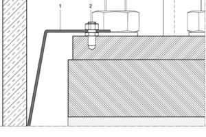 Detail Blitzableiter, M 1. 5Legende Detail Blitzableiter<br /><br /><br />1Erdungsband<br />2Gewindestift, Verbindung für Blitzableiter