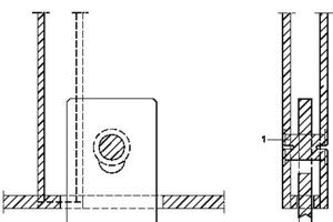 Detail oberer Anschlusspunkt Fassadenschwert, o.M.<p>1Bolzenverbindung, flächenbündig</p><p>2Fassadenunterkonstruktion, horizontal verschiebbar in Fassadenebene</p><p>3Flachstahl, Zugverankerung und Fassadenpfosten ohne Druckkraftübertragung</p>