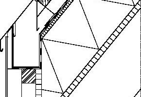 Traufdetail M 1:10(Quelle: Gebäudehüllen mit Faserzement, Karl Krämer Verlag, Stuttgart)