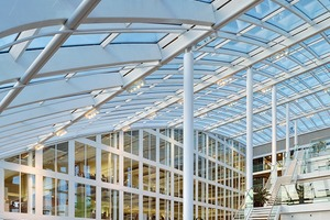 Die Tragstruktur lässt sich in Bezug auf Effizienz und Einfachheit mit der eines Gewächshauses vergleichen