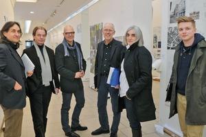 Die Jury v. l. Heiner Lippe, Klaus Bollinger, Hartwig Schultheiß, Wilfried Dechau, Donatella Fioretti und Christoph Edler