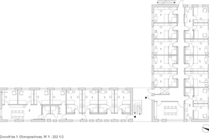 Grundriss 1. Obergeschoss Laerheide Bochum, Haus C, M 1:333 <sup>1</sup>/3