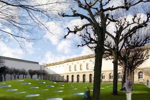 Beim Städelmuseum wird ein Hügeldach über dem Erweiterungsbau gebaut, dessen sphärisch gebogene Glas-Oberlichter die Hügelform wiederaufnehmen<br />