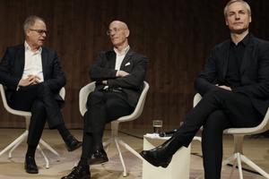 Auf der Pressekonferenz: Pierre de Meuron, Jacques Herzog, Ascan Mergenthaler
