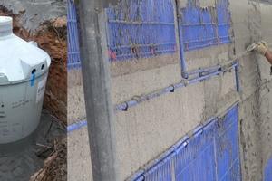 Eisspeicher mit 10 m³ / Die Kapillarrohrmatten werden mit Klebemörtel eingeputzt