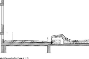 Detailschnitt Feuerwehrzufahrt Tiwag, M 1:75
