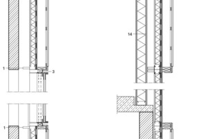 Fassadenschnitt, M 1: 33 <sup>1</sup>/3