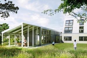 Zum Garten zeigt sich der deutsche Beitrag von Model Home 2020, das LichtAktivhaus in Hamburg, von seiner offenen Seite
