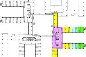 Grundriss Ebene 2, M 1:2000Der Bau der HDI-Gerling Sachversicherung ist ein Stahlbetonskelettbau. Die einzelnen 6-geschossigen Bürofinger sind am zentralen Atrium angeschlossen. Die Aussteifung des oberirdischen Komplexes erfolgt allein über die zentralen Erschließungskerne. Die Obergeschossdecken sind als Stahlbetonflachdecken mit Dicken zwischen 30 bzw. 50 cm konzipiert. Die Regeldecken werden quer zur Spannrichtung der Bürofinger und anderer Bereiche mit großen Spannweiten zur Begrenzung der Durchbiegung mittels Monolitzen ohne Verbund vorgespannt