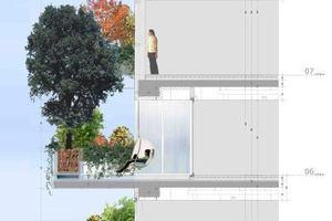 """Schnitt durch die Fassade zeigt, dass jeder Bewohner einen """"grünen"""" Ausblick hat, als wohnte er im Erdegschoss oder maximal im 3. Geschoss"""