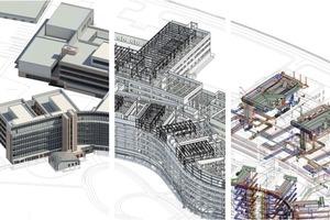 Neben der Architektur (links) und der Tragwerksplanung (mitte) wurde auch die Technische Ausrüstung (rechts) des Neubaus modellbasiert und integrativ auf Basis von Building Information Modeling entwickelt