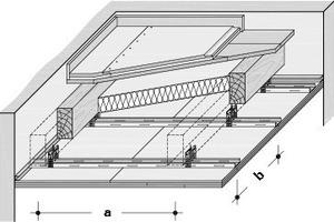 Schemazeichnung Deckenkonstruktion mit Kapselkriterium K<sub>2</sub>60/REI60 mit Metallunterkonstruktion, einfacher Profilrost CD<br />