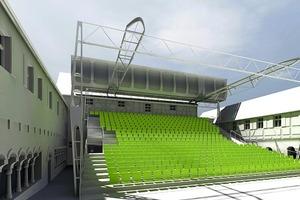 Mobile Tribüne mit Überdachung, Feuchtwangen, 2009;  Architekten: Pohl Architekten und Stadt-planer, Erfurt<br /><br />