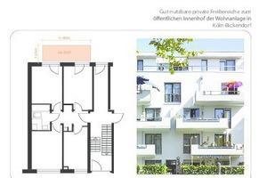 Gut nutzbare, private Freibereiche zum öffentlichen Innenhof einer Wohnanlage in Köln-Bickendorf