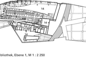 Grundriss Bibliothek, Ebene +1, M 1:2250<br />