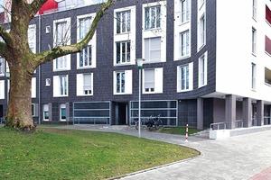 Um die Platane gekurvt: Die Parkfassade spielt mit großen Fensterformaten. Dahinter liegen Bäder, Schlafräume und Treppenhäuser