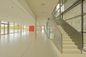 Der Gebäudekomplex wird durch eine etwa 100 m lange Magistrale im Praktikumsflügel erschlossen. Im Untergeschoss befindet sich ein repräsentatives Foyer