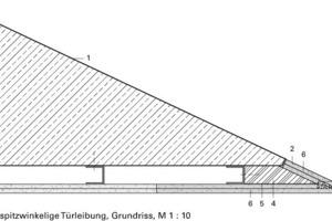 Detail Grundriss, spitzwinkelige Türleibung, M 1:10<br />