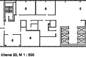Grundriss Ebene 33, M 1:500