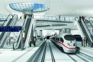 In einer Visualisierung wirkt die unterirdische Bahnhofshalle hell und elegant