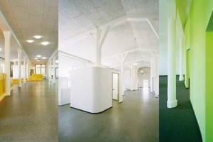 Farbige Einbauten bilden einen gelungenen Kontrast zur historischen Gebäudestruktur und schaffen so durchgehende fließende Räume für die Arbeitsplätze anstelle von Einzelbüros im neuen Sitz der Firma Hagemann am Kaufmannskanal im Hamburg-Harburger Binnenhafen<br />
